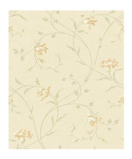 York Wallcoverings Wind River Garden Flowers with Flowing Vines 8 x 10 Wallpaper Memo Sample Shimmering Champagne/Deep Cream And Tan