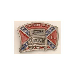 "Western Express ""You Might Be A Redneck If.."" Enameled Metal Belt Buckle: Clothing"