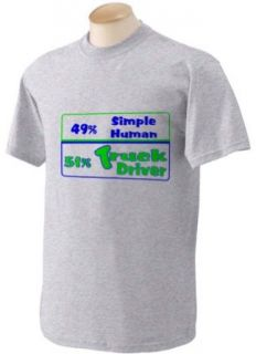 49% Simple Human 51% Truck Driver Adult Short Sleeve T Shirt In Various Colors & Sizes: Clothing