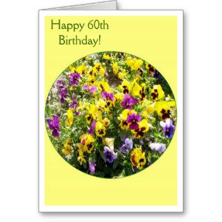 A Happy 60th Birthday Card Pansies