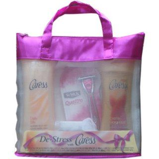 Caress Bath & Shower Gift Set Includes 1 Daily Silkening Body Wash 1 Evenly Gorgeous Exfoliating Body Wash 1 Body Pouf & 1 Schick Quattro for Women Razor : Bath And Shower Gels : Beauty