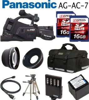 Panasonic AG AC7 HD Shoulder mount AVCHD Camcorder + Spare VW VBG260 Battery + Two 16GB Cards + 0.45X Wide Angle Lens + 2x Telephoto Lens + Case + Tripod + Led Light + Travel charger + Filter Kit : Professional Camcorders : Camera & Photo