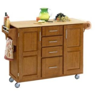 Deluxe Wood Top Kitchen Island with Cottage Oak Finish   Kitchen Islands and Carts