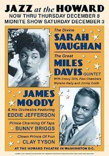 Sarah Vaughan & Miles Davis (Jazz Concert Flyer) Music Poster   Prints