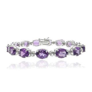 Sterling Silver 23ct. Amethyst & Diamond Accent Tennis Bracelet: Jewelry