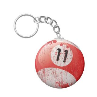NUMBER 11 BILLIARDS BALL   ERODED STYLE KEY CHAIN