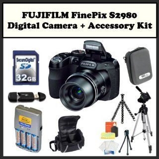 FUJIFILM FinePix S2980 + Accessory Kit. Includes: 32GB Memory Card, Memory Card Reader, 4 AA Rechargeable Batteries, Gripster Tripod, LCD Screen Protectors, Cleaning Kit & Much More! : Point And Shoot Digital Camera Bundles : Camera & Photo