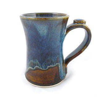 Stoneware 12 oz Coffee Mug, Handmade Pottery, Earthy Blue Color Kitchen & Dining
