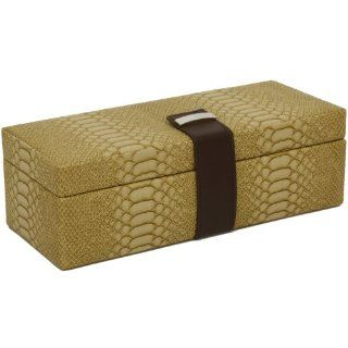 Compact Ladies Women's Watch Box for 5 Watches in Exotic Embossed Animal Motif in Tan Espresso Brown: Watches