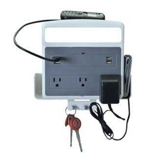 Wiremold PX1002 Wall Mount USB Multi Outlet Charging Center For Mobile Devices, White/Silver   Power Strips And Multi Outlets