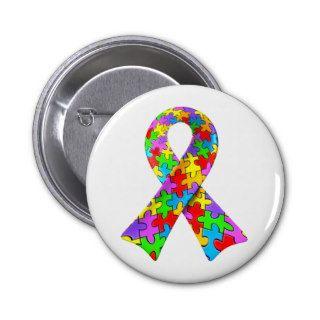 3D Autism awareness puzzle ribbon Pins