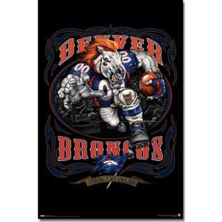 Denver Broncos Mascot, Grinding It Out Since 1960 Sports Poster Print   22x34 custom fit with RichAndFramous Black 22 inch Poster Hangers   Sports Fan Prints And Posters