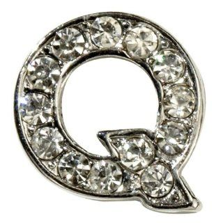 "Sugar N Vine Ice Crystal Covered Alphabet Letter ""Q"" Slide Charm   Works with Slider Style Buckle Charm Bracelets!: Jewelry"