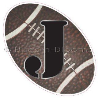 """J"" Football Alphabet Letter Name Wall Sticker (6"" W x 6""H)   Decal Letters for Children's, Nursery & Baby's Sport Room Decor, Baby Name Wall Letters, Boys Bedroom Wall Letter Decorations, Child's Names. Sports Balls Mur"