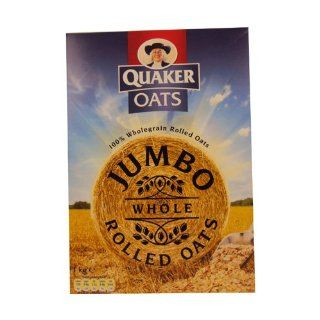 Quaker Jumbo Rolled Oats 1000g  Oatmeal Breakfast Cereals  Grocery & Gourmet Food