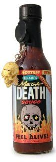 Hot Sauce, Blair's Mega Death Hot Sauce, 5oz Glass Jar, w/Skull Key Chain : Gourmet Sauces Gifts : Grocery & Gourmet Food