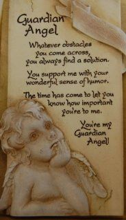 "Arts in Stone Decorative Sentiment Plaque   6""H x 3""L   Hanging Hook with Easel Back (Guardian Angel)   Decorative Tiles"