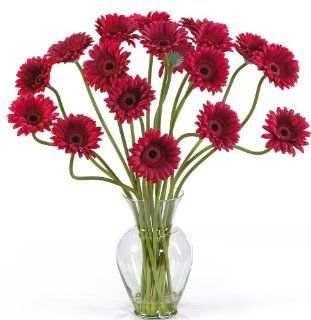 Nearly Natural 1086 RD Gerber Daisy Liquid Illusion Silk Flower Arrangement, Red   Artificial Mixed Flower Arrangements
