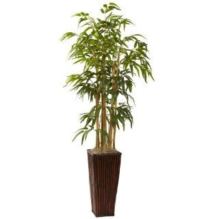 Nearly Natural 6737 4 Feet Bamboo with Decorative Planter, Green   Artificial Trees