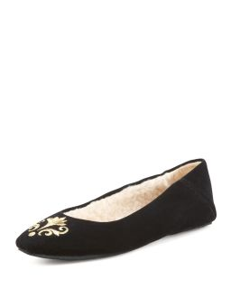 Bel Esprit Velour Slipper   Jacques Levine   Black (35.0B/5.0B)