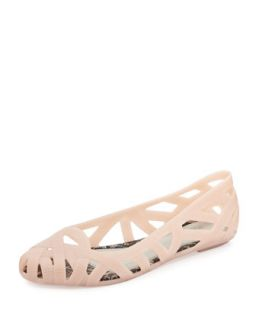 Jean + Jason Wu III Cutout Jelly Flat, Nude   Melissa Shoes   Nude (6.0B)