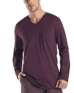 Mens William Long Sleeve Shirt, Ruby Red   Hanro   Ruby red (X LARGE)