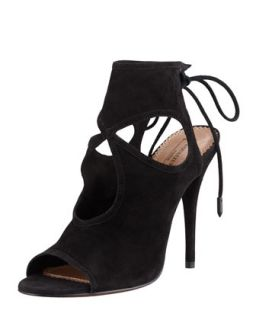 Sexy Thing Suede Cutout Sandal, Black   Aquazzura   Black (40.0B/10.0B)