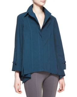 Womens Long Sleeve Roll Sleeve Button Up Cotton Shirt, Teal   Donna Karan
