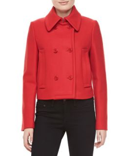 Womens Melange Wool Double Breasted Coat, Crimson   Michael Kors   Crimson (10)