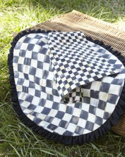Courtly Check Round Placemat with Black Ruffle   MacKenzie Childs