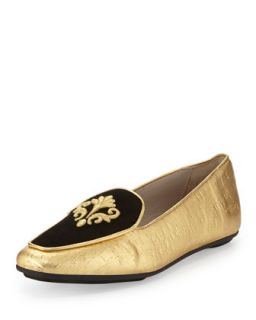 Quinn Painted Cork Emblem Loafer, Gold/Black   Jacques Levine   Black (39.0B/9.