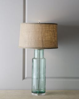 Blue Green Recycled Glass Lamp