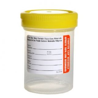 Samco Scientific 01 0100 Virgin Polypropylene Non Sterile Specimen Container with 53mm Wide Mouth Diameter, Non Tabbed Label, Yellow Bio Tite Cap, 120mL Capacity (Case of 300): Industrial & Scientific