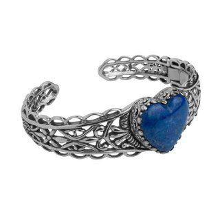 Carolyn Pollack Sterling Silver Denim Lapis Te Amo Heart Cuff Bracelet: Jewelry
