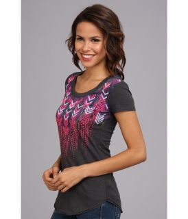 Rock and Roll Cowgirl Chevron Short Sleeve Tee Charcoal