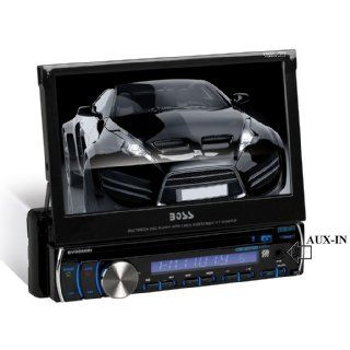BOSS Audio BV9986BI In Dash Single Din 7 inch Motorized Detachable Touchscreen DVD/CD/USB/SD/MP4/ Player Receiver Bluetooth Streaming Bluetooth Hands free with Remote  Vehicle Dvd Players