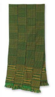 Cotton kente cloth scarf, 'Measure' Apparel Wraps And Shawls