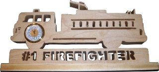 Handmade Fire Truck Wooden Desk Clock Statue   #1 Firefighter   Dad Gifts For Firefighters