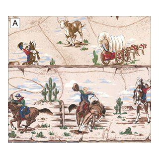 "Dollhouse Wallpaper "" Cowboys in White "": Toys & Games"