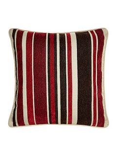 Linea Stripe chenille cushion, red