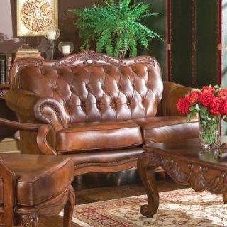 Coaster Victoria Tri Tone Leather Formal Loveseat w/Nailheads   Love Seats