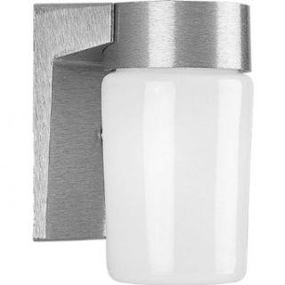 Progress Lighting P5511 16 Wall Fixture with Threaded Opal Glass Shades That Screw Onto Fitter with Vapor Proof Gaskets and Porcelain Sockets, Satin Aluminum   Wall Porch Lights