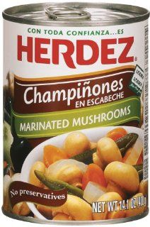 Herdez Champinones en Escabeche, Marinated Mushrooms, 14.1 Ounce Cans (Pack of 6) : Straw Mushrooms : Grocery & Gourmet Food
