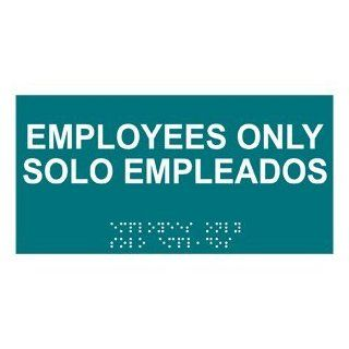 ADA Employees Only Braille Sign RSMB 310 WHTonBHMABLU Employees Only : Business And Store Signs : Office Products