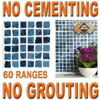 BLUE MOSAIC: Box of 8 tiles 6x6 SOLID PEEL & STICK ON TILES apply over tiles or onto the wall !   Decorative Tiles