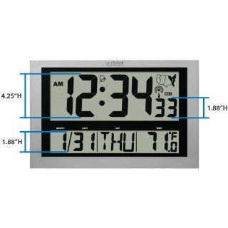 La Crosse Technology 513 1211 Atomic Wall Clock with Jumbo LCD Display with Indoor Temperature   Large Digital Wall Clock