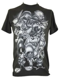 Looney Tunes Mens T Shirt   Grayscale Bugs Bunny, Daffy Duck, Taz, and Others on Black (X Small) Clothing