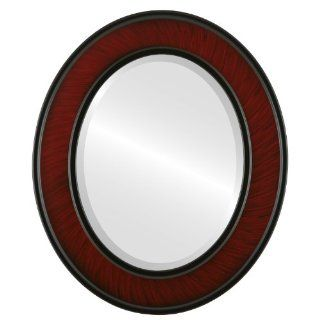 wood Oval Beveled Wall Mirror in a Cherry Montreal style Vintage Cherry Frame 17x21 outside dimensions   Wall Mounted Mirrors