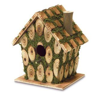 Gifts & Decor Moss Edged Wood Outdoor Yard Hanging Wooden Bird House  Patio, Lawn & Garden