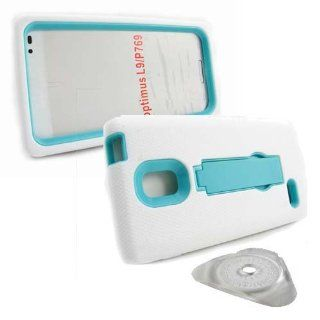 Hard Plastic Snap on Cover Fits LG P769 Optimus L9 Armor White/Turquoise Hybrid (Outside White Soft Silicone Skin, Inside Turquoise Front and Back Hard Case with Stand) + PRY Clip Opener T Mobile: Cell Phones & Accessories